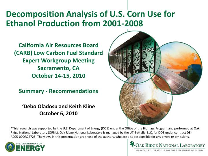 decomposition analysis of u s corn use for ethanol production from 2001 2008 n.
