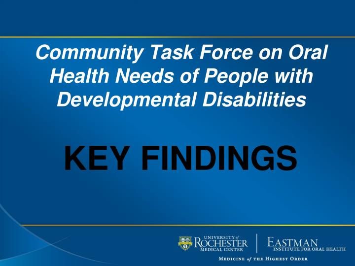 community task force on oral health needs of people with developmental disabilities n.