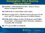 demographics who is receiving what from whom