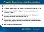 provider experiences and expectations