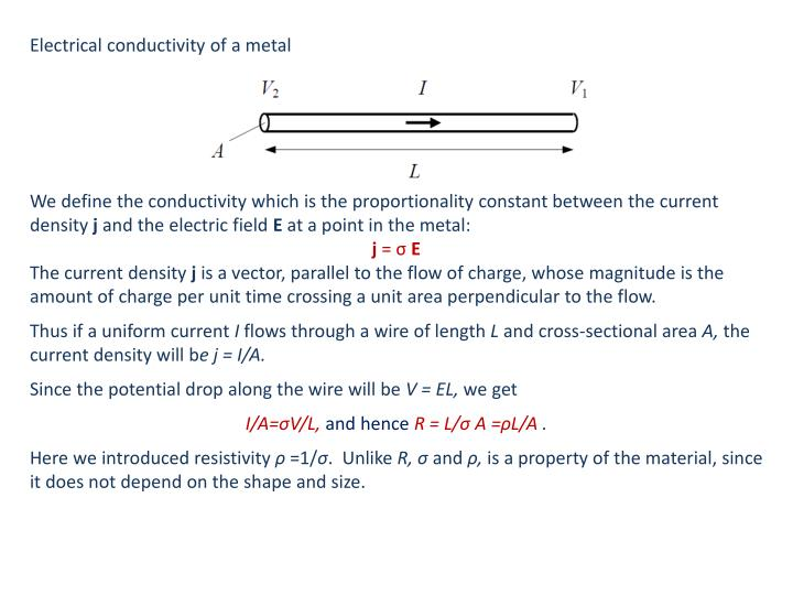 Electrical conductivity of a metal