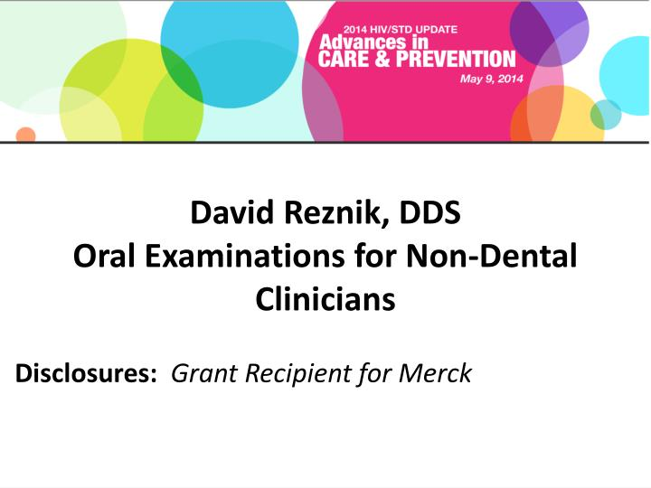 david reznik dds oral examinations for non dental clinicians n.