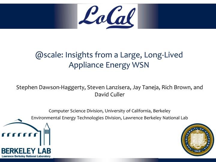 @scale insights from a large long lived appliance energy wsn n.