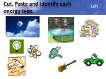 cut paste and identify each energy type