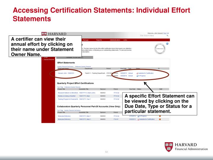 Accessing Certification Statements: Individual Effort Statements