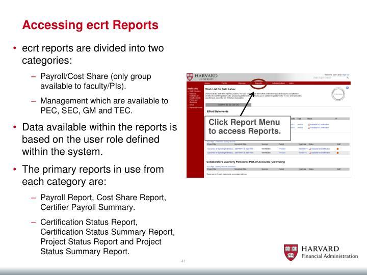 Accessing ecrt
