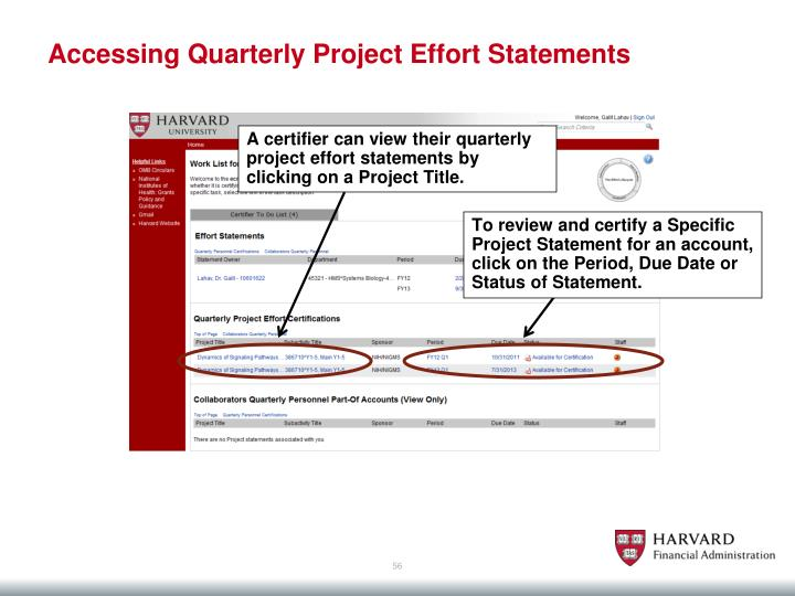 Accessing Quarterly Project Effort Statements