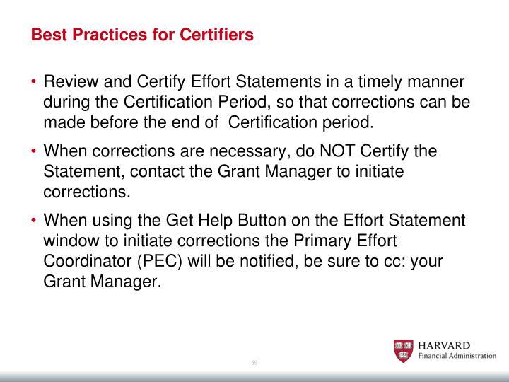 Best Practices for Certifiers