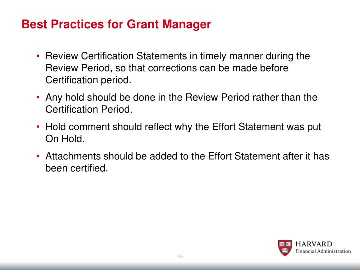 Best Practices for Grant Manager
