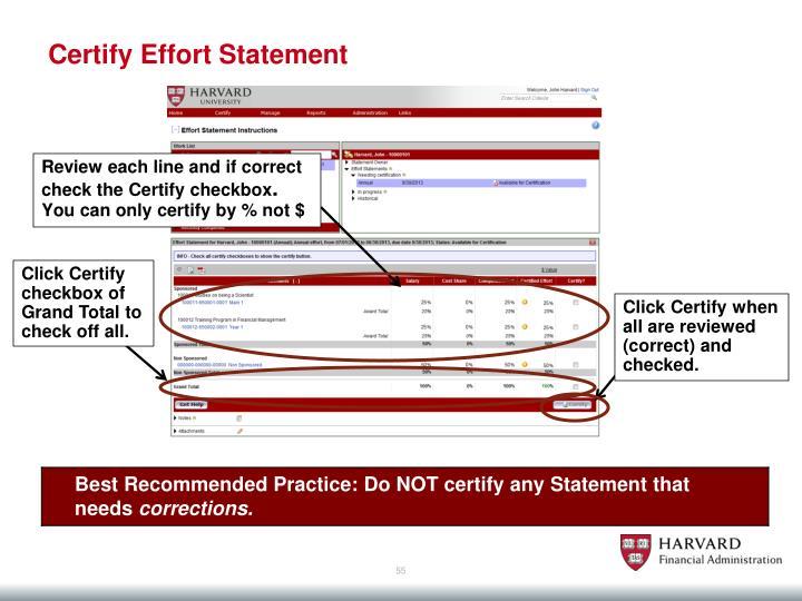 Certify Effort Statement
