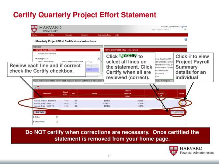 Certify Quarterly Project Effort Statement