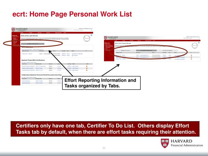 ecrt: Home Page Personal Work List