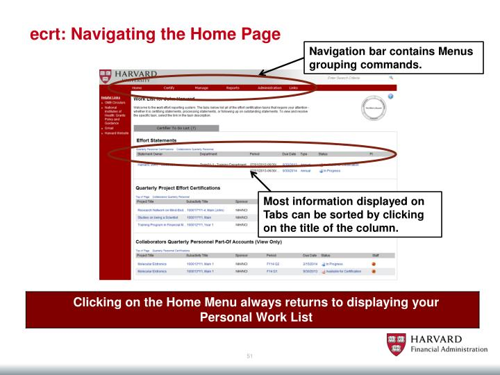 ecrt: Navigating the Home Page