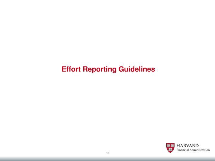 Effort Reporting Guidelines