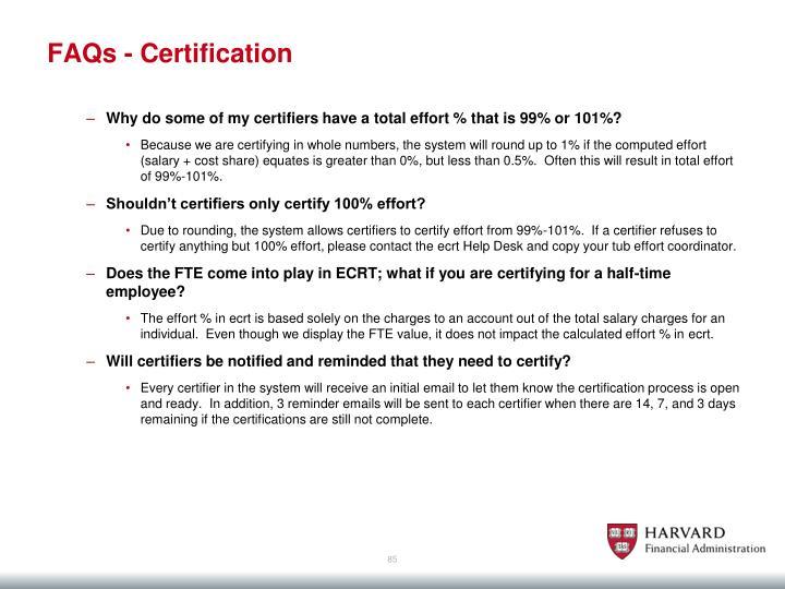 FAQs - Certification