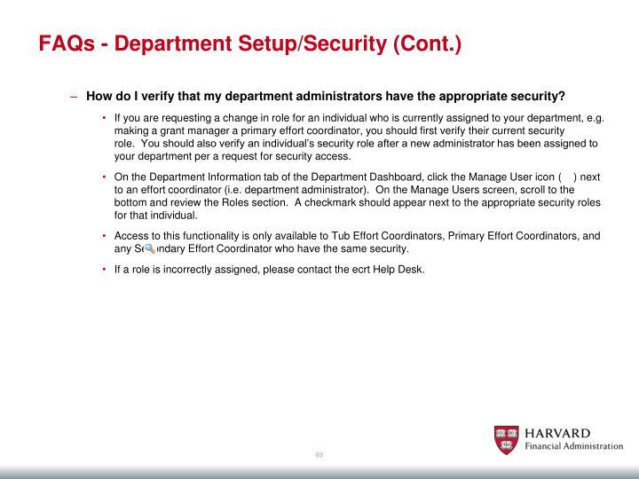 FAQs - Department Setup/Security (Cont.)