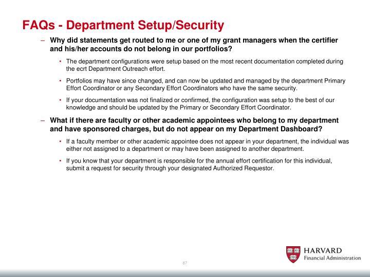 FAQs - Department Setup/Security