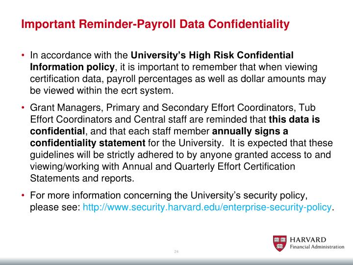 Important Reminder-Payroll Data Confidentiality