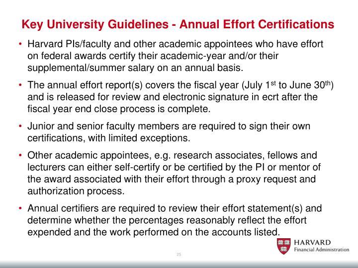 Key University Guidelines - Annual Effort Certifications