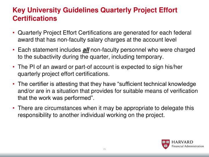 Key University Guidelines