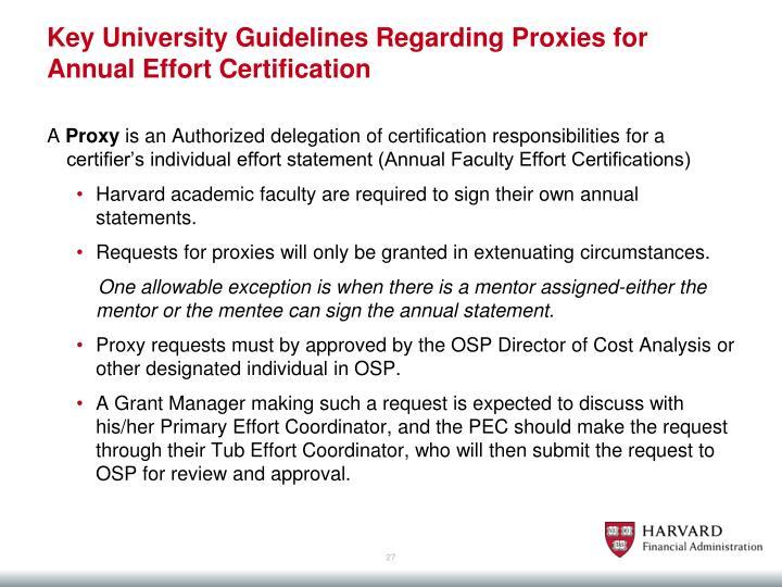 Key University Guidelines Regarding