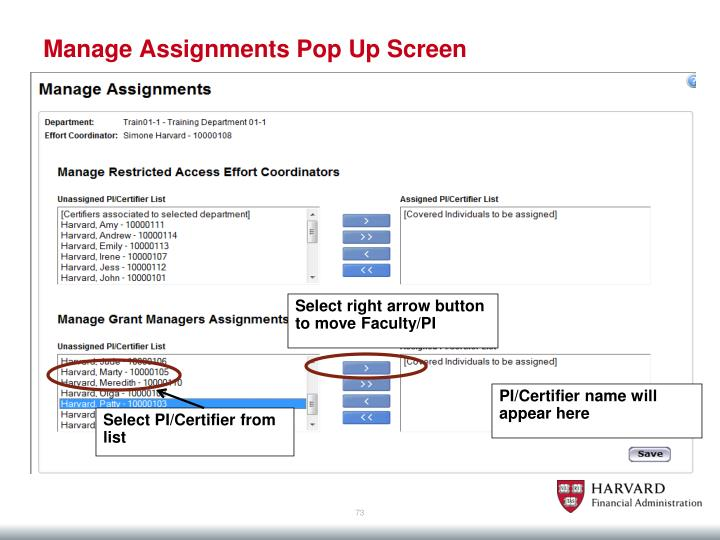 Manage Assignments Pop Up Screen