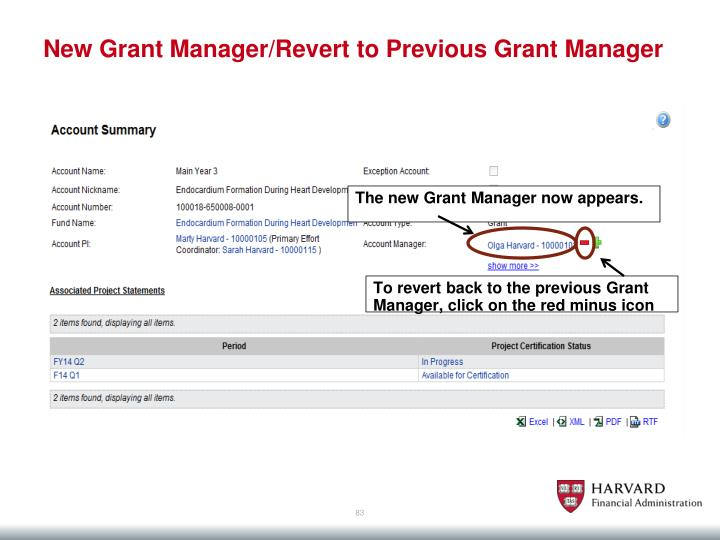 New Grant Manager/Revert to Previous Grant Manager