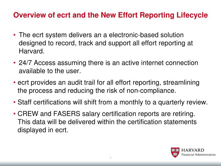 Overview of ecrt and the New Effort Reporting Lifecycle