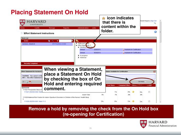 Placing Statement On Hold