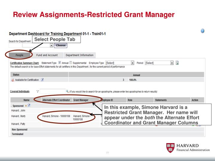 Review Assignments-Restricted Grant Manager