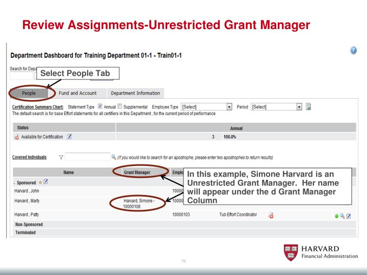Review Assignments-Unrestricted Grant Manager
