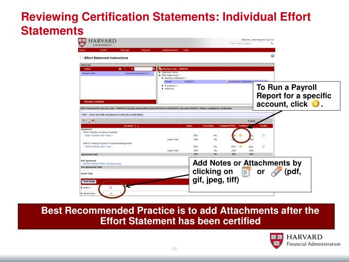 Reviewing Certification Statements: Individual Effort Statements