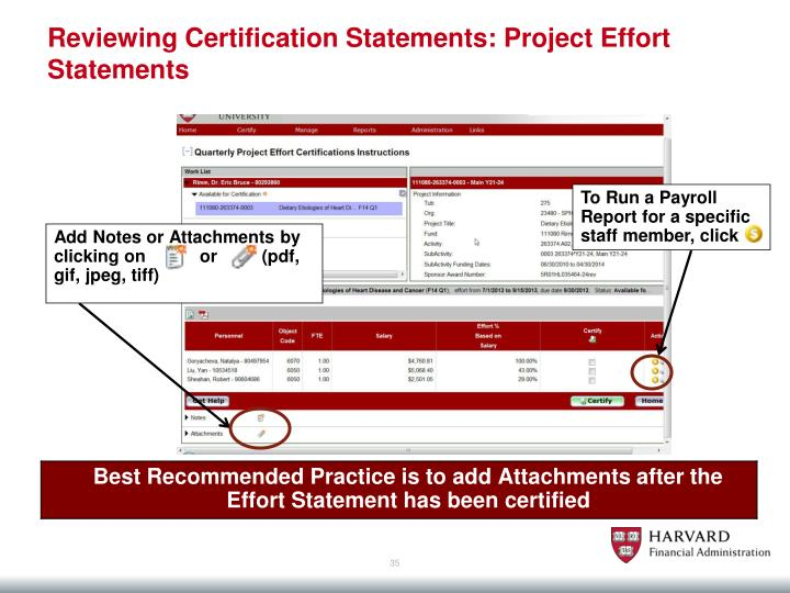 Reviewing Certification Statements: Project Effort Statements