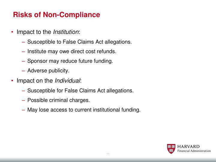 Risks of Non-Compliance