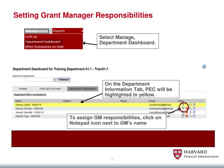 Setting Grant Manager Responsibilities