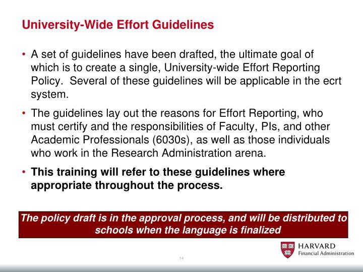 University-Wide Effort Guidelines