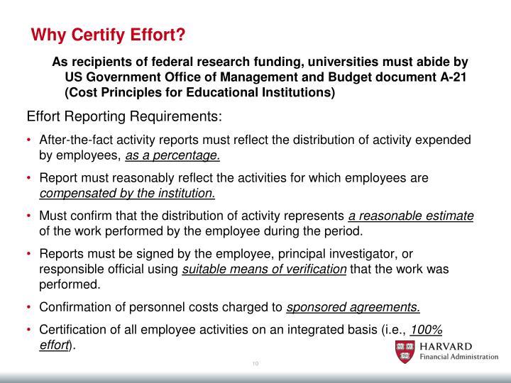 Why Certify Effort?