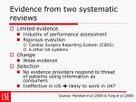 evidence from two systematic reviews
