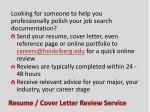 resume cover letter review service