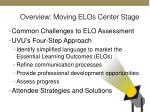overview moving elos center stage