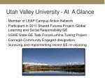 utah valley university at a glance