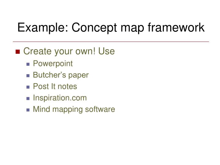 Example: Concept map framework