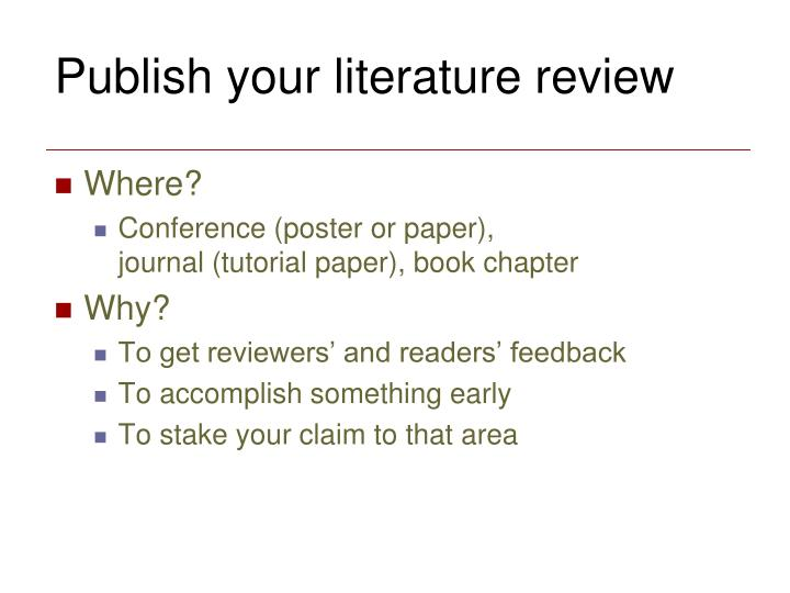 Publish your literature review