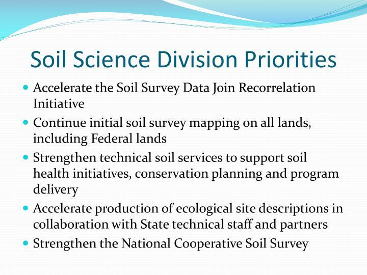 Soil science division priorities