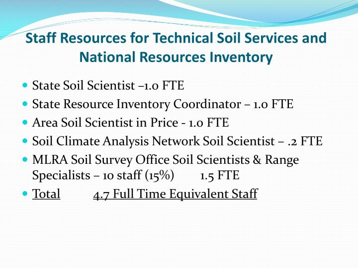 Staff Resources for Technical Soil Services and National Resources Inventory