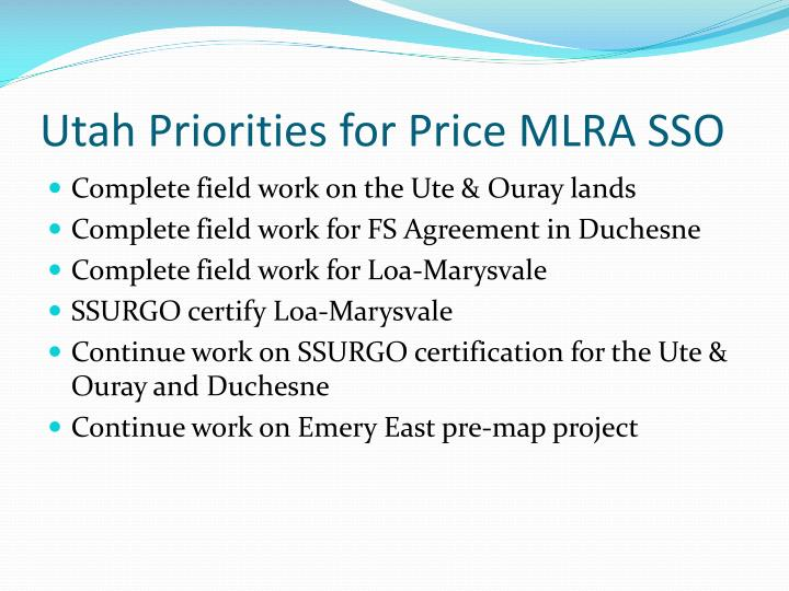 Utah Priorities for Price MLRA SSO