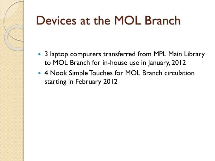 Devices at the MOL Branch