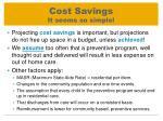 cost savings it seems so simple
