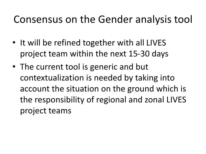 Consensus on the Gender analysis tool