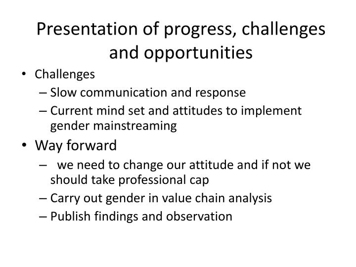 Presentation of progress, challenges and opportunities